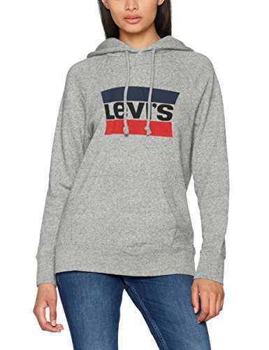 Levi's Damen Kapuzenpullover Graphic Sport Hoodie, Grau (Sportswear Hoodie Smokestack Htr 0000), X-Small
