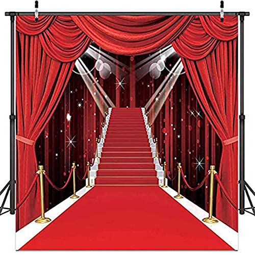 10X10FT Hollywood Theme Party Decorations Photo Backdrops Red Carpet Backgrounds Vinyl Photography Background Backdrops for Wedding Birthday Party Decoration CY-053
