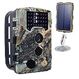 OMZBM Caméra Jeu 16MP 1080P HD Wildlife Trail avec écran LCD 2.4 Pouces Photo-pièges en Plein air Chasse Scout Caméra avec Panneau Solaire 120° Grand Angle à Vision Nocturne Appareil Photo numérique