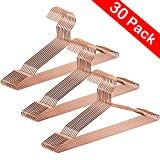 CBTONE 30 Pack Strong Metal Hanger 16.5 Inch, Metal Wire Clothes Hangers Coat Hanger Standard Hangers with Anti-Slip Grooves for Everyday Use, Rose Gold