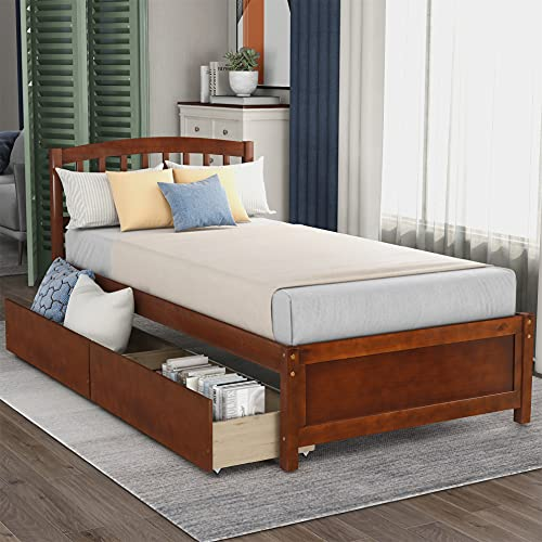 Harper & Bright Designs Twin Bed Frame, Twin Bed with Drawers , Kids Platform Twin Bed with Storage ,Wood Twin Bed Frame with Headboard , No Box Spring Needed ,Walnut