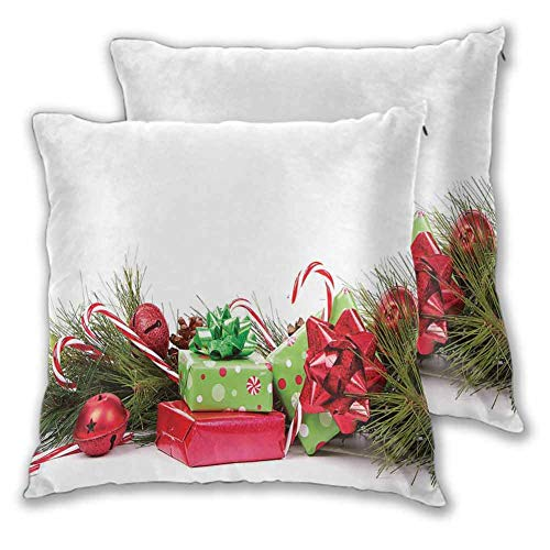 Xlcsomf Christmas Pillowcase Indoor, 20 x 20 Inch Ornate Boxes with Dots Candy Cane Festive Wrapped Seasonal Elements Surprise for Sofa Bedroom Car Christmas decoration Fern Green Ruby Set of 2