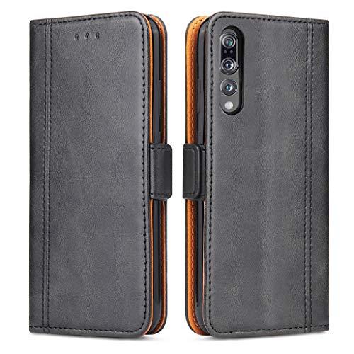 Bozon Coque Huawei P20 Pro, Housse pour Huawei P20 Pro en Cuir Portefeuille Etui avec Fentes de Cartes, Fonction Support, Fermeture Magnétique (Noir)