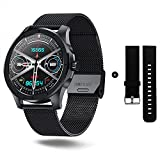 Smart Watch with Call, Fitness Tracker with Music Player, Health Monitor, Business Sport Smart Watch for Men Women, Waterproof Smartwatch for Android iOS Phones (Steel & Silicone watchbands)