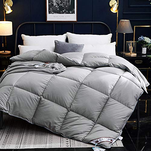 CHOU DAN Warm And Cosy 13.5 Tog,goose down duvet warm thicken winter quilt blanket comforter-Pure gray_200X230 3000g (1pcs)