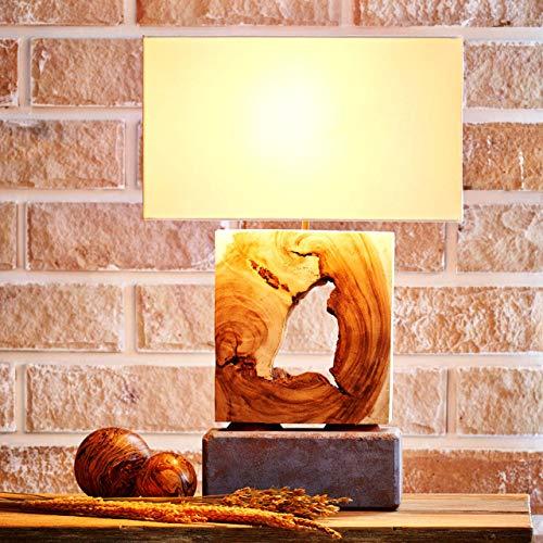Möbel Bressmer Treibholz Tischlampe Wood & Stone E 27   Holz-Lampe Höhe 60 cm   Teak Holzfuß   Wohnzimmerlampe Nachttisch Lampe Tischleuchte mit Lampenschirm   UNIKAT - Handarbeit