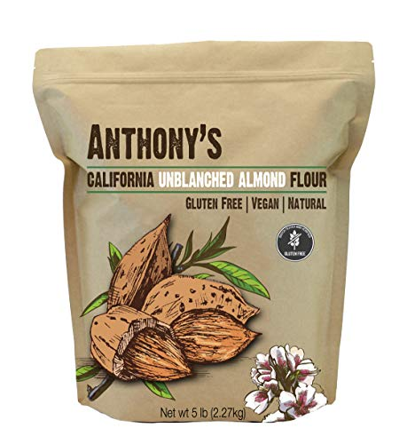 Anthony's Almond Meal Flour, Natural Unblanched, 5 lb, Batch Tested Gluten Free, Keto Friendly