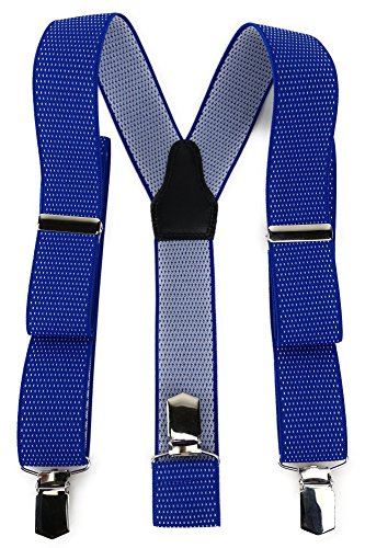 TigerTie Unisex Hosenträger in Y-Form mit 3 extra starken Clips - Farbe in blau royal weiß gepunktet - hochwertige Verarbeitung - Breite 35 mm