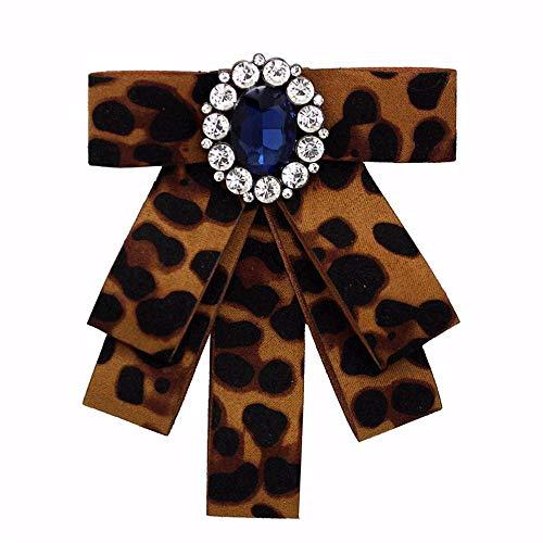 THTHT Vintage Multilayer Luipaard Print Doek Bow tie Broches voor Vrouwen Mode Retro grote Crystal Accessoires Corsage Sieraden