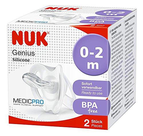 NUK Medic Pro Genius Newborn Dummies, 0-2 months, Silicone, BPA Free, 2 Count