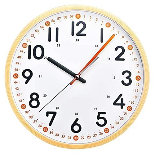 HHTD Reloj de Pared con Marco de Grano de Madera, Puntero de Dos Colores, Reloj de Pared Llamativo, Simple y silencioso, Adecuado para la mayoría de Las escenas Interiores