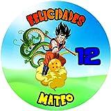 OBLEA de Goku Personalizada con Nombre y Edad para Pastel o Tarta, Especial para cumpleaños, Medida ...
