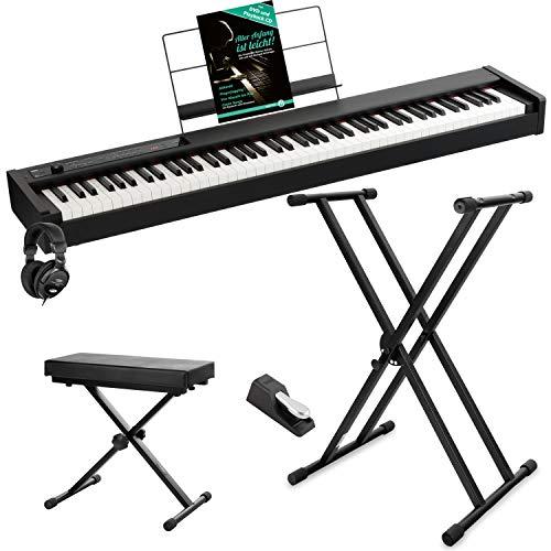 Korg D1 BK Digital Piano Starter Set (inkl. Pedal, Notenständer, Kopfhörer, Keyboardbank, X-Keyboardständer & Musikschule) Schwarz