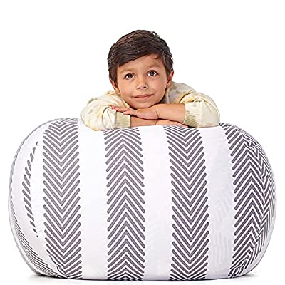5 STARS UNITED Stuffed Animal Storage - Cover Only - 90+ Plush Toys Holder and Organizer for Boys and Girls Cotton Canvas - Grey Stripes by 5 STARS UNITED LLC