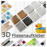 Grandora 7 Adhesivos 25,3 x 3,7 cm Cobre Gris Oscuro Plateado Etiqueta Adhesiva Design 6 I 3D Diversidad lámina para Azulejos y baldosas Cocina de baño Pegatina de Pared decoración de Azulejos W5288