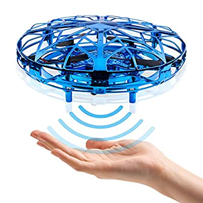 CANOPUS Hand Operated Mini Drone, Quad Induction Levitation UFO Drone, Blue, Flying Toys for Kids and Adults with 360° Rotating and Shinning LED Lights