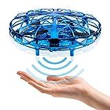 CANOPUS Mini Drone Juguete, UFO Drone operado a Mano para Interior y Exterior, Bola voladora OVNI, Fácil de operar,, cumpleaños para Principiantes, niños y Adultos (Azul)