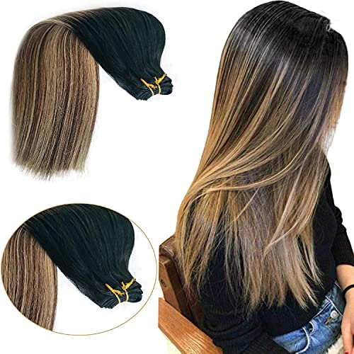 Human Hair Extensions Blonde Human Hair Bundles Sew in Hair Extensions Balayage Hair Wefts #1B Natural Black Fading to #6 Chestnut Brown Highlights #27 Honey Blonde Hair Weaves for Women(18',100g)