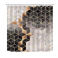 Nextchangeシャワーカーテングリッドブラックグレーゴールド大理石のテクスチャバスカーテン防水ポリエステル生地バスルームの装飾セット12フック付き-72x72インチ