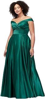 0c0c8f37f6 David s Bridal Pleated Off-The-Shoulder Plus Size Prom Dress Style J68789W