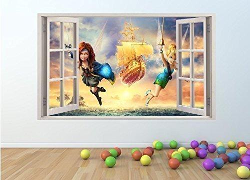 supreme vinyls pw17 Wandtattoo Tinkerbell & Piraten-Fee, 3D Fenster-Effekt, 100 x 60 cm