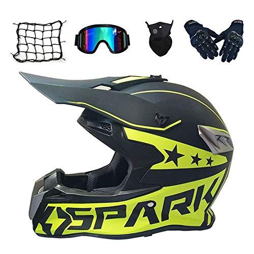 Jidesheying Erwachsene Motocross-Helm mit Schutzhelm Net Skibrillen Handschuhe Maske, Mattschwarz und Grün, Pro Full Face Off Road Helmset Mountainbike Motorradsturzhelm-Schutzausrüstung