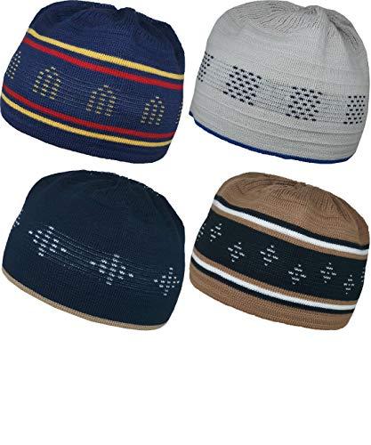 Al-Ameen 4 Color Muslim Beanie Skull Cap AMN055 Islam Kufi Hat Crochet Taqiyah Takke