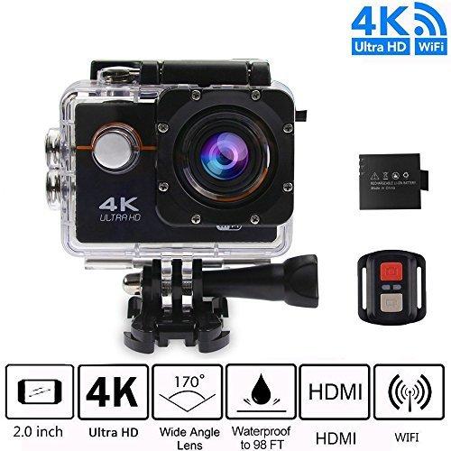 Sport Video Camera 4K WiFi Action Camera Waterproof Camera -hd 1080p, Bike Camera Underwarter Camera 4K with Multi Accessories for Snorkeling