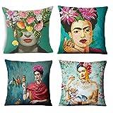 Adecuado para Frida Kahlo Autorretrato Funda de almohada Funda de almohada de lino de algodón Funda de almohada decorativa Funda de cojín estilo mexicano 17.7'17.7' para sofá, sofá y cama [4 juegos]