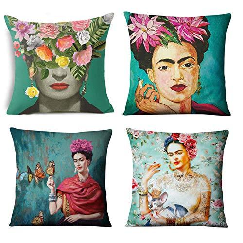 Cekell adatto per frida kahlo cuscino 4 pezzi di pad di divano, manicotto di cuscino in cotone a sublm, copertura del sedile auto, 17,7 x17.7in (45x45cm)