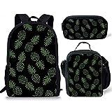 HUGS IDEA - Mochila vintage de 15 pulgadas para colegio, bolso de hombro, fiambrera y estuche 3 en 1, color negro