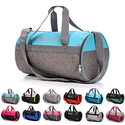 meteor Bolsa Deporte Viaje Gimnasio con Compartimento Separado para Zapatos Duffle Bag para Hombre Mujer Ultraligera Plegable Bolsa Deportiva 25 L Yoga Bolsa Fin de Semana (Azul/Melange Gris, 25 L)