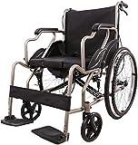 Hyl Silla de Ruedas Plegable Plegable Silla de Ruedas Silla de Ruedas Manual Viaje for los usuarios de Edad Avanzada, discapacitados y Personas de Movilidad Puede soportar 100 kg / 220 Libras