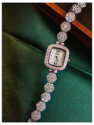 CHXISHOP Pulsera de Las Mujeres Reloj de Mano Reloj de Moda gótico con circón con Incrustaciones de Cuarzo Movimiento de la Moda Cuadrada Reloj Moda Reloj Silver