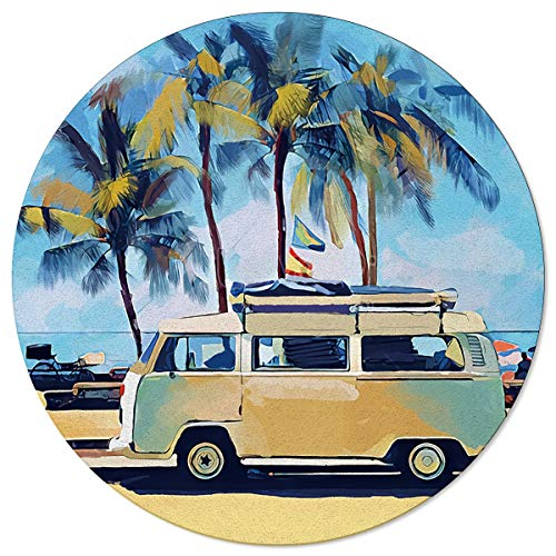 AmbeHome Round Area Rugs 3 ft, Modern Carpet Floor Cover Nursey Rugs for Kids Play Room/Living Room, Summer Doodle Sketch Bus Loads of Surfboard and Palm Trees Sturdy Soft Kitchen Mat Rugs