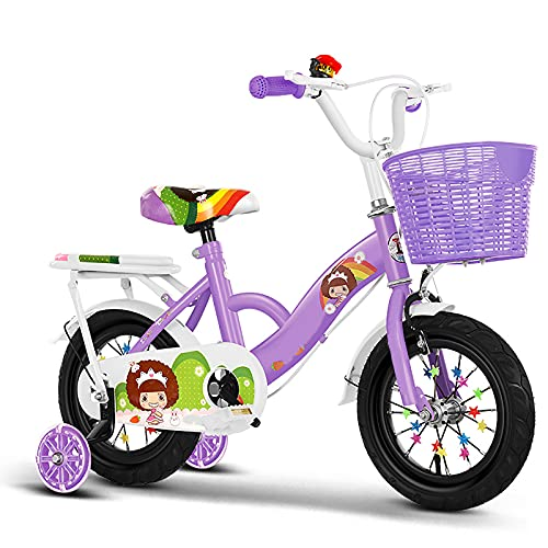 Bicicleta Para Niños, Bicicleta Freestyle 2-9 Años Niños Niñas 12 14 16 18 Bicicleta De 20 Pulgadas Con Asiento Trasero Entrenamiento Para Niños Ruedas Flash Y Canasta Para Llevar,Púrpura,18inches