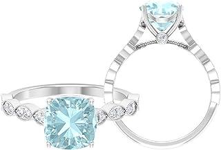 Anello di fidanzamento con topazio blu cielo 8,5 mm, D-VSSI Moissanite, anello di fidanzamento, anello solitario con pietr...
