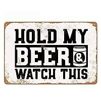オリジナルのヴィンテージデザインは私のビールを保持します錫金属壁アートサイン、バーのポスター壁の装飾