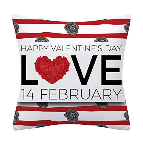 Valentines Pillow Covers 18x18 Inch Valentine's Day Decorations Throw Farmhouse Pillowcase Cotton Linen Cushion Case Valentine Gift or Home Decor for Couch Sofa Car Office