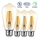 E27 Edison Light Bulbs 4 Pack, 4W Dimmable Screw Bulb Vintage LED Filament