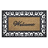 Achim Home Furnishings WRM1830FL6 Wrought Iron Rubber Door Mat, 18 by 30', Black/Brown