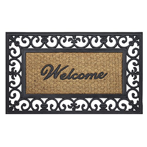 "Achim Home Furnishings WRM1830FL6 Wrought Iron Rubber Door Mat, 18 by 30"", Black/Brown"