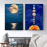 Nordic Sun Moon Planet Art Canvas Posters e impresiones Pintura moderna Cuadro de pared para la decoración del hogar de la sala de estar del bebé minimalista | 50x75cmx2 | Sin marco