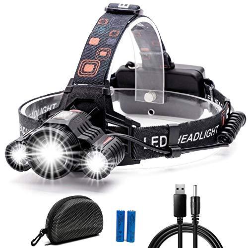LEDヘッドライト USB充電式 ヘッドランプ 高輝度 CREE LED 10000ルーメン 防水 90°調整可能 ズーム機能付 4つ点灯モード 18650型バッテリー 軽量 アウトドア作業 登山 夜釣り キャンプ 防災 停電対策