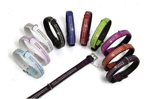 Karlie Leder Halsband Tiffanymit Strass in 10 Farben und 7 Größen, 30-60 cm