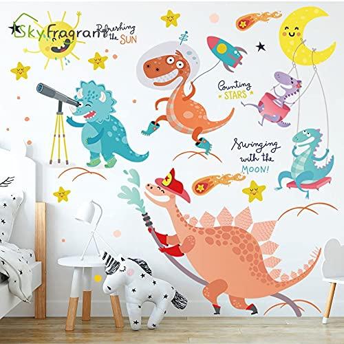 PMSMT Dinosaurio de Dibujos Animados Etiqueta de la Pared patrón de Animal Lindo Pegatinas Autoadhesivas decoración de la habitación de los niños decoración del hogar de los niños
