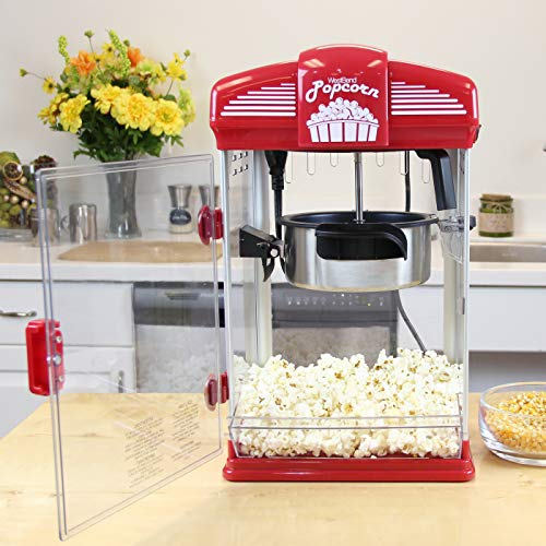 West Bend 82515 Hot Theater Style Popper Machine with Nonstick Kettle Includes Measuring Cup Oil and Popcorn Scoop, 4-Ounce, Red