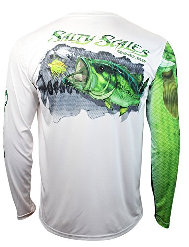 Salty Scales Largemouth Bass Long Sleeve Fishing Shirt for Men, Dri-Fit Performance Clothing (XL) White