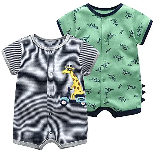 Monos para Bebés Niño 2 Piezas - Verano Pijama de Algodón Mameluco de Manga Corta Animales Pelele para Recién nacido 9-12 Meses