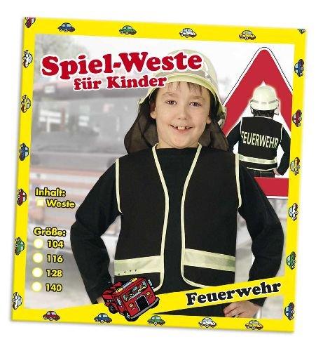 Spielweste Feuerwehr Kinder Feuerwehrweste schwarz 104